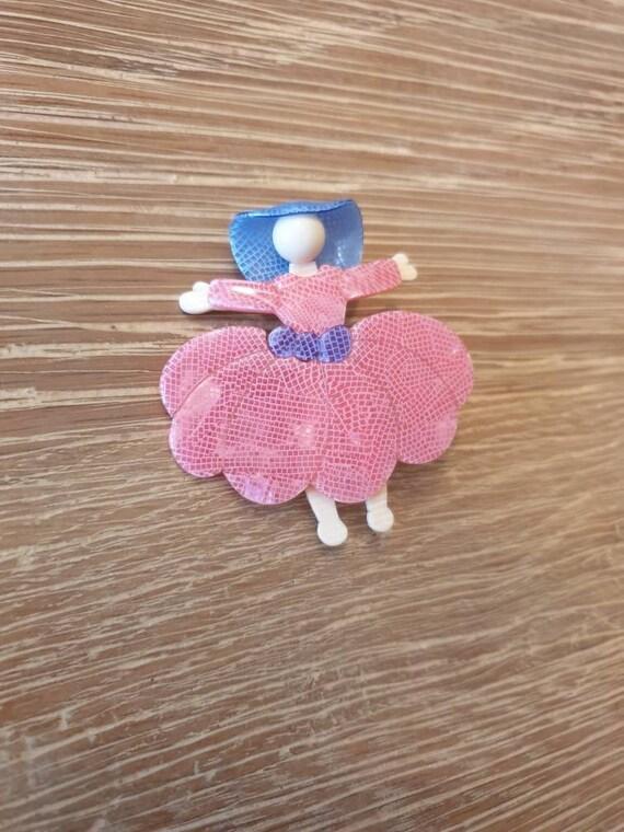 "Lea Stein ""Ballerina (Scarlet O'Hara)"" Brooch - image 5"