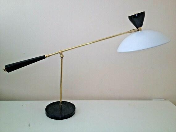 CANTILEVER Table LAMP w MARBLE Base Large Mid Century Arteluce Eames Stilnovo Deco Italian 50s 60s Atomic