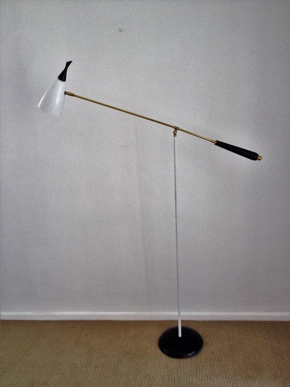 Adjustable Cantilever Floor Lamp Light Black White Mid Century Arteluce Eames Stilnovo Deco Atomic 50s 60s