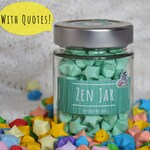 Zen Green Stars With Zen Quotes, Lucky Paper Stars, Hand Folded Stars, Home Decor, Origami Decoration, Paper Stars, Book Quotes, Gift