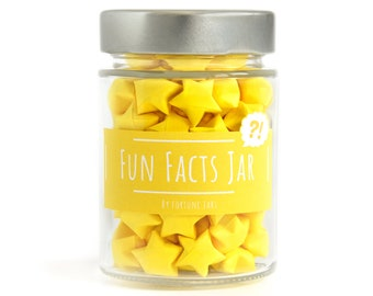 Paper Stars in a Jar with Fun Facts, 100 Hand Folded 3D Stars, Mason Jar Origami Decor, Handmade Decoration, Educational Gift, Star Facts