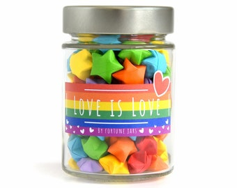 Rainbow Paper Stars in a Jar with Love Quotes, LGBTQ Flag, Pride Month Gifts, Cute 3D Origami Stars, Daily Love Quotes and Reminders