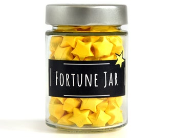 Inspirational Paper Stars with Quotes in a Jar, 3d Origami Lucky Paper Stars, Cute Home Decor,Fortune Paper Stars, Bright and Positive Gift