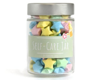 Paper Stars in a Jar with Self Care Tips and Reminders, Get into positive mindset, improve wellbeing, mental health and practice mindfulness