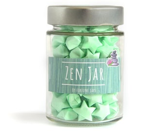 Zen Paper Stars with wisdom quotes in a Jar,3d Origami Lucky Stars for practicing meditation mindfulness and inner peace, Positive Gift