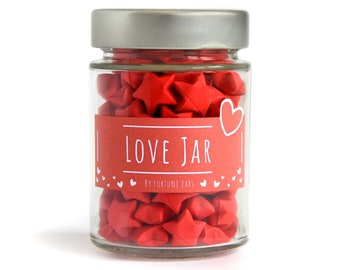 Love Jar, Paper Stars in a Jar with Love Quotes, Inspirational Jar of Love Messages, 3D Origami Stars, Anniversary/Wedding gift