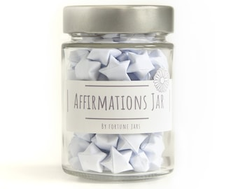 Paper Stars in a Jar With Positive Affirmations to Inspire Positivity, Mindfulness, Self Love, 3d origami lucky Stars, Affirmation Cards