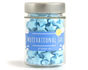 Motivational Paper Stars With Quotes in a Jar, 3d folded origami Lucky Stars, Daily Motivation Quote Inspirational Gift, Jar of Positivity