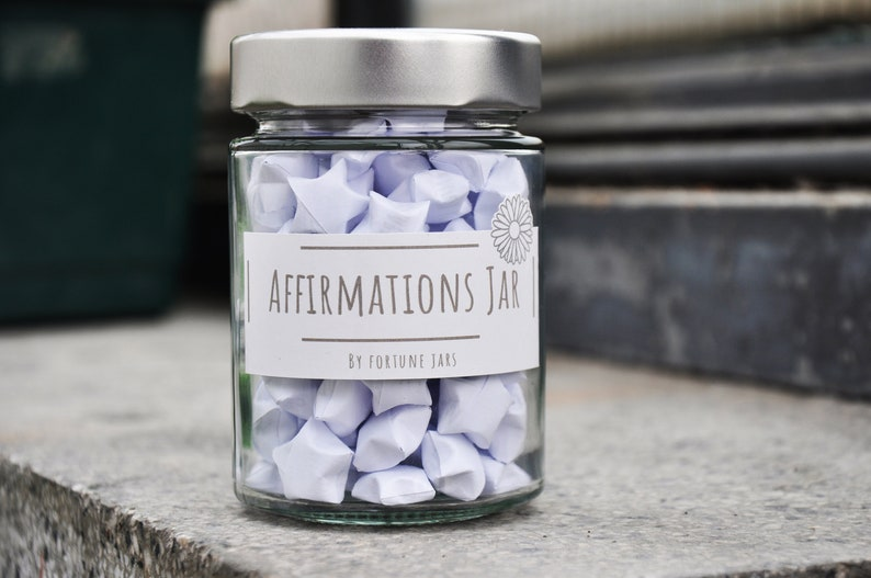 Paper Stars in a Jar With Positive Affirmations Lucky Paper image 0