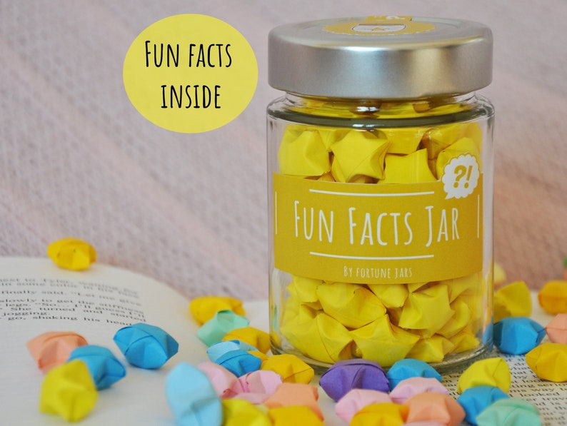 Origami Stars in a Jar With Fun Facts Lucky Paper Stars Hand image 0