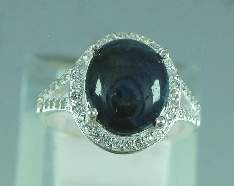 Sapphire gemstone ring,natural star sapphire ring,anniversary ring,September birthstone ring,sterling silver 925