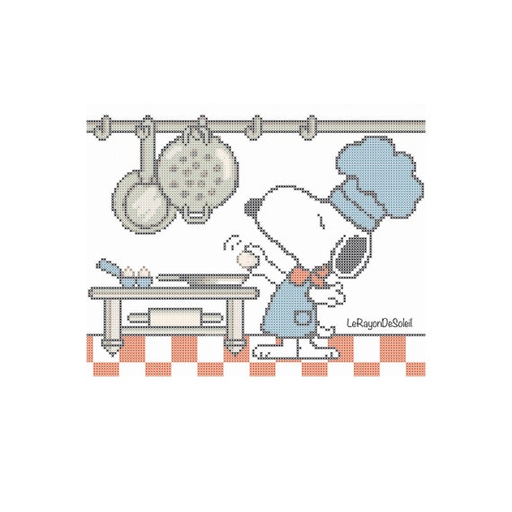 Cross stitch pattern Snoopy chef kitchen  Instant download