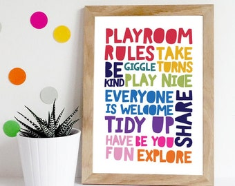 Colourful Wallart Playroom Rules Print Boys Bedroom Decor Girls Bedroom Decor Colourful Playroom Prints Playroom Prints Nursery Prints