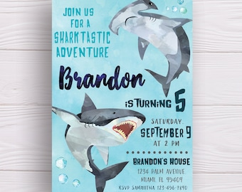 Shark Invitation Birthday Printable Party Boys Themed