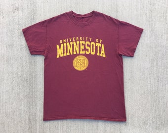 5c96661ee8 VINTAGE University of Minnesota t shirt burgundy red & yellow classic soft  cotton worn distressed patina tee crew neck graphic logo medium M