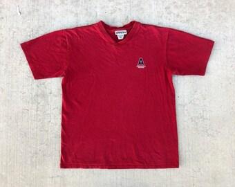 3b09c3062 90s VINTAGE AEROPOSTALE Athletics Graphic tee red oversized distressed  v-neck t shirt Made in Canada unisex medium M