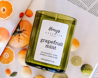Grapefruit Mint - Wine Bottle Candle