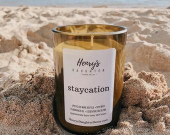 Staycation Wine Bottle Candle | Palo Santo