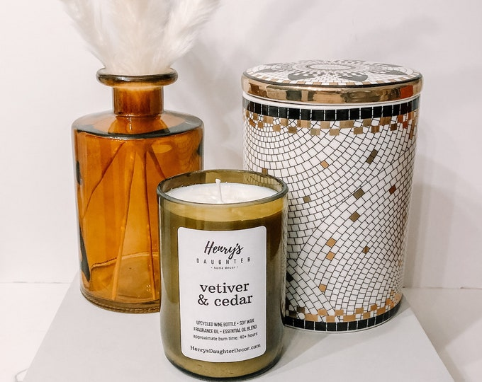 Vetiver & Cedar - Wine Bottle Candle | Woodsy with Bergamot