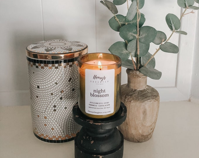 Night Blossom - Wine Bottle Candle | Agave & Patchouli