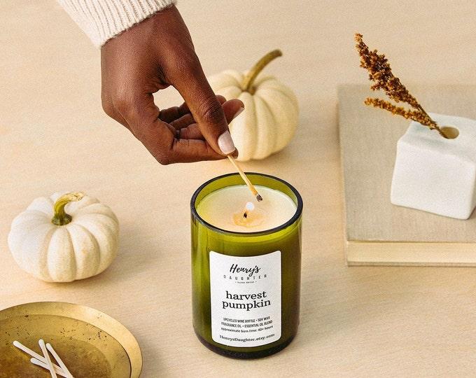 Harvest Pumpkin - Wine Bottle Candle