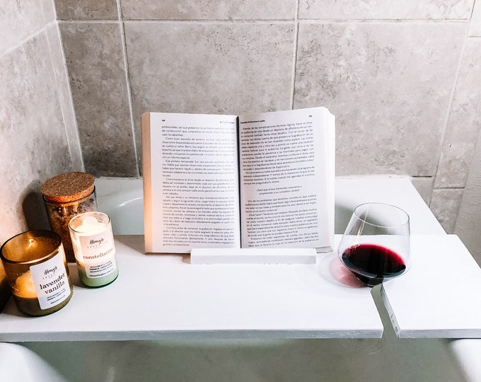 Bathtub Tray with Wine Holder and Book Holder