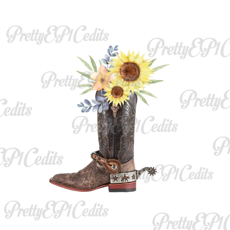 17041d95a39 Cowboy boot with flowers, sunflowers, watercolor flowers, digital download,  clip art, PNG, JPG.