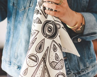 Screen printed cotton bandana comic moon phases and landscape