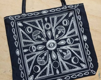 Cosmic, Landscape, Moon Phases Oversized Tote Navy & White Screenprinted Handsewn (22in)