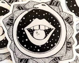 """2"""" cosmic Oroboros vinyl sticker, scratch & water resistant"""