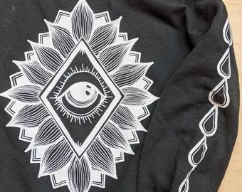 Cosmic Oroboros and Eye Fleece Crew - hand printed original design (Black or Blue)