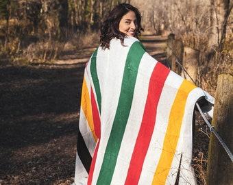 Alpaca Blanket Queen Size Pioneer Striped | Classic Grey Canadian Pattern | Native Design Outdoor Blanket