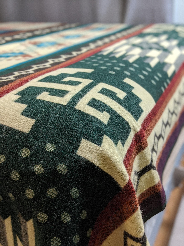 Alpaca Couverture Queen Taille Forst motif géométrique vert | Couverture de camping de conception indigène | Décor de sofa de Boho | Couverture espagnole