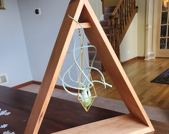 Cherry Wood Triangle Hanging Plant / Crystal Holder