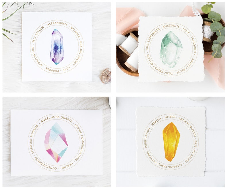 Set of 60 Printable Crystal Meaning Cards - Gemstone Card Labels - Jewelry  Display Cards - Chakra Stone Kit Inserts - Packaging Inserts