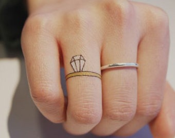 79174a790 Temporary Tattoo Valentine Proposal Big Diamond Ring Cute Idea Bride  Transfer Stick on Fake Tattoo Gift