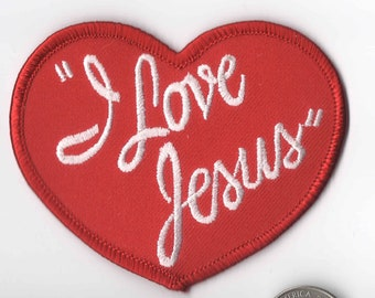 """25  Pcs I LOVE JESUS Embroidered Patches 4.5x2/"""" iron-on B"""