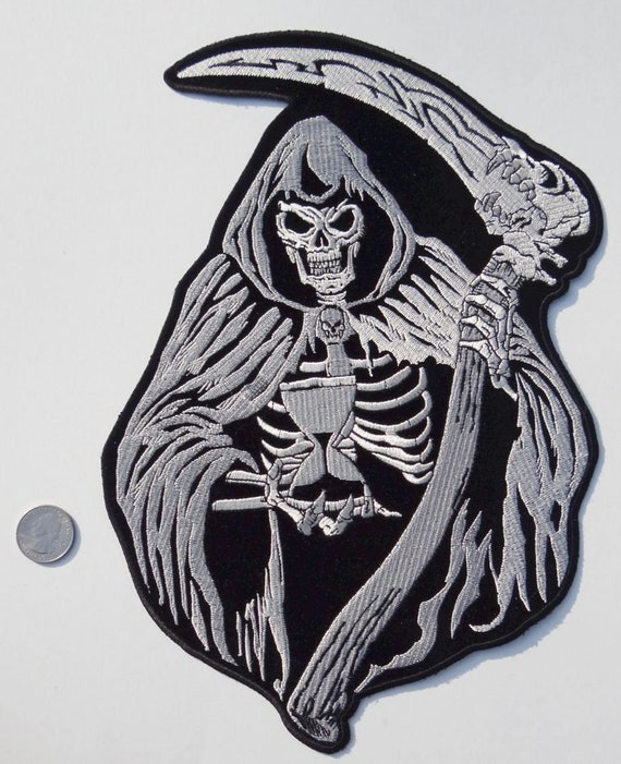 Grim Reaper Embroidered Iron On Applique Patch EXCELLENT QUALITY Halloween