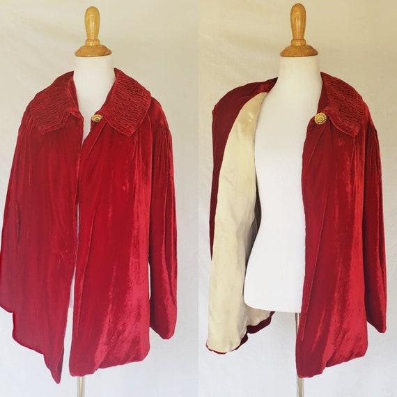 1930's Red Silk Velvet Jacket