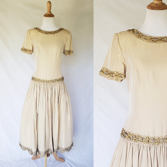 1950s Champagne Gold Beaded Dress