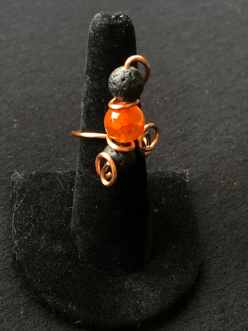 Lava Rock and Fire Agate Ring