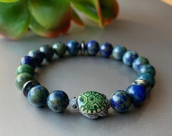Turtle bracelets for women, Turtle Bracelet, Sea Turtle Bracelet, Boho Beach Gift, Azurite Jewelry, Summer Beach Jewelry