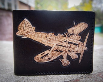 Biplane WWI Leather Wallet BLACK or BROWN RAF Pilot Gift 033