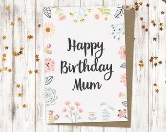 Happy Birthday Mum Card For Flower Cards