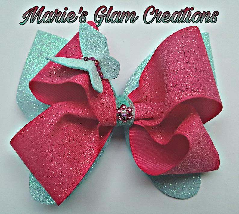 Turquoise & Fushia Boutique Butterfly Hair Bow With SWAROVSKI® image 0