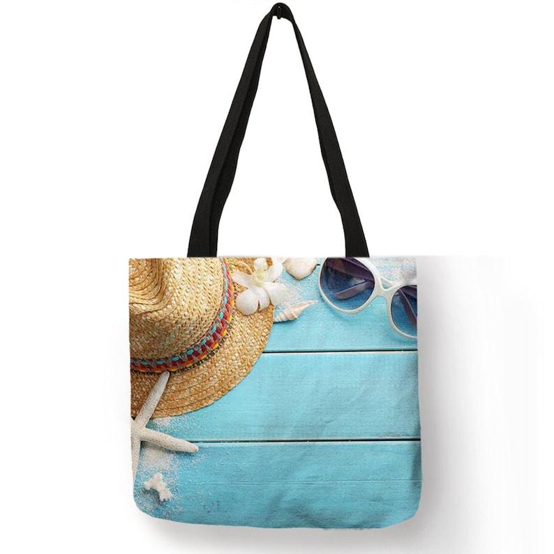 Ladies Shoulder Bag Blue Ocean Starfish Beach Sand Prints Tote Bag Linen Fabric Beautiful Casual Practical Handbag 3
