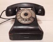 Black bakelite rotary phone VEF 1950 39 s Vintage Soviet UNION USSR Telephone 6