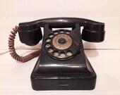 Black bakelite rotary phone VEF 1950 39 s Vintage Soviet UNION USSR Telephone 7
