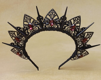 Black Tiara Custom, Amethyst, Crystal Tiara, Crown, Spiked Tiara, Headband, Renaissance, Bachelorette Party, Prom Tiara, Bridal, Wedding,