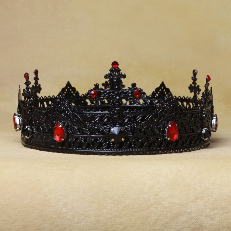 308431d088 Gothic Crown, Cross Crown, Black Crown, Gothic Headdress, Evil Queen,  Crown, Vampire Headband, gothic wedding, groom crown, black tiara